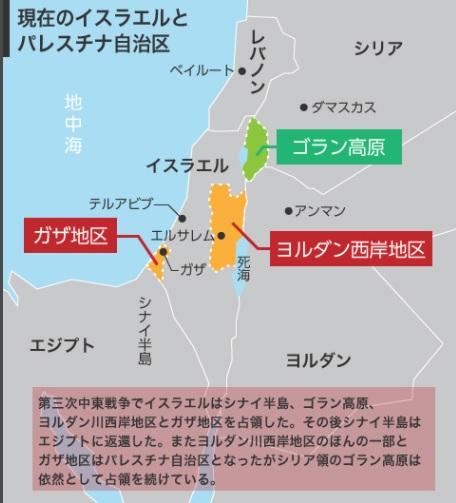 4回の中東戦争を経て、イスラエルがほぼ全領土を占領した。