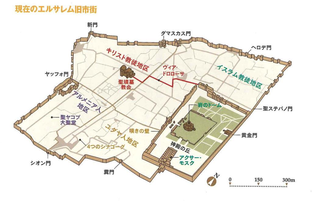 エルサレム旧市街の地図。