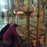 聖墳墓教会内部にある、イエスの遺体に香油を塗られた場所。