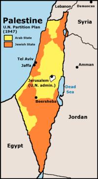 橙色がイスラエル、黄色がパレスチナ領土。