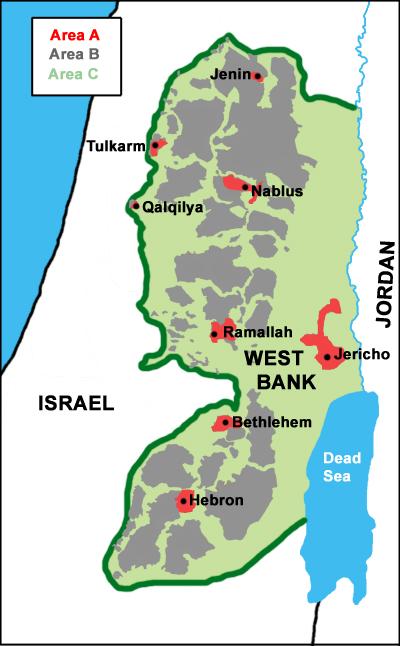 赤色のエリアがパレスチナ自治区の行政権が及ぶ地域、灰色はパレスチナの行政権だがイスラエル軍が駐在、緑色がイスラエルによる占領地。