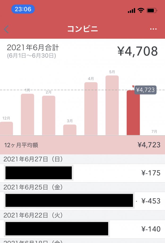 各月ごとのコンビニでの支出をグラフで見える化。更に12ヶ月平均線も表示してくれる。