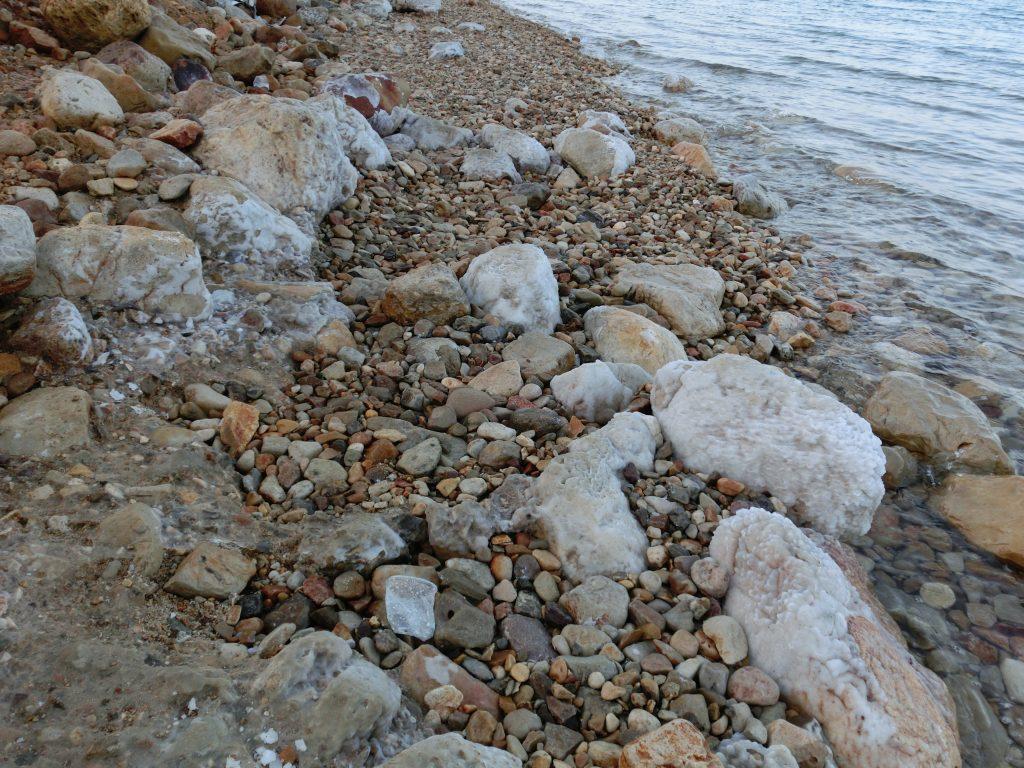 エン・ゲディのパブリックビーチ。岩がゴロゴロ、その岩に塩が析出しているのでサンダルは必須。